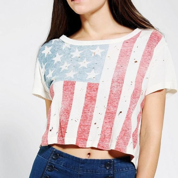 48f9f49c Urban Outfitters Tops | Faded American Flag Cropped Tshirt | Poshmark